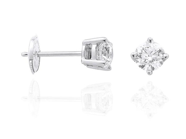 Diamond Earrings 0.50 Carat Round Diamond H Color VS2 Clarity GIA Certificate