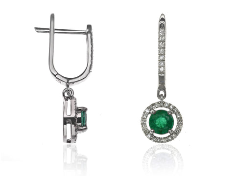 Diamond & Emerald Halo Drop Earrings