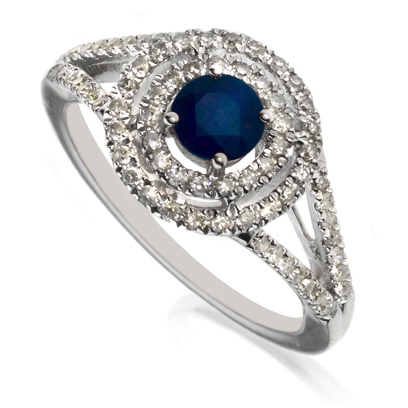 Diamond & Sapphire Double Halo Cluster Ring