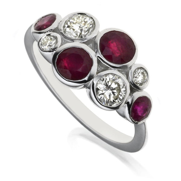 Diamond & Ruby Eight Stone Bubble Ring