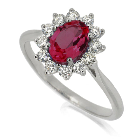 Diamond & Ruby Cluster Ring