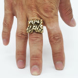 BKS Jesus Slaves Ring, BROOKLYNSMITHY.COM, Graffiti Ring, Nameplate Rock and Roll Ring, Death Metal Ring, Signature Ring, Earth Tone Men's Rings, Jewelry Made in USA, Chunky Word Statement Ring