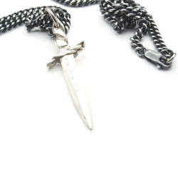 Alter Dagger Knife Pendant Handmade in USA Sterling Silver | Brooklyn Smithy BKS Rings | Every Day Carry | EDC  | SHOP BKS RINGS | Alter Dagger Pendant with perfect heavy solid regal necklace chain.  Handcrafted Rock and Roll Dagger jewelry. Built to last, handcrafted in the USA |  @Brooklynsmithy | BKSRings | #ringtrue | opening ceremony jewelry | Heavy Chain jewelry