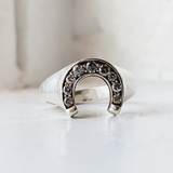BKS Horseshoe-Ethical-Grey-Diamond-Studded-Minimalist-Signet-Ring | Love-Promise-Ring | Valentines-Ring-Grey-Diamond | Grey-Diamond-Alternative-Engagement-Ring | Made-in-usa-ring | Brooklyn-Smithy-Jewelry | Covet-Your-Freedom | Ring-True