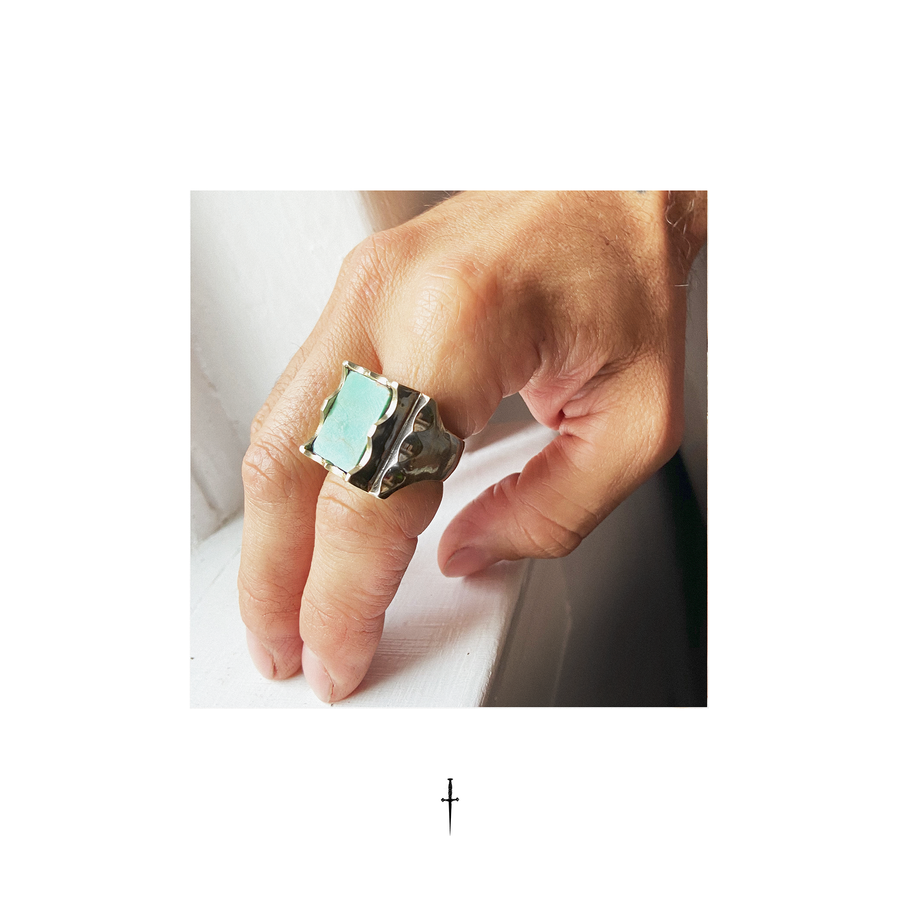 Turquoise Mexican Biker ring | turquoise Signet Ring | Modern Luxury Turquoise | Made in USA | Cripple Creek Turquoise Mens signet Ring | Mexican Biker Ring | Mens Signature signet ring | Brooklyn-Smithy-Rings | BKS-Rings | Covet-your-freedom