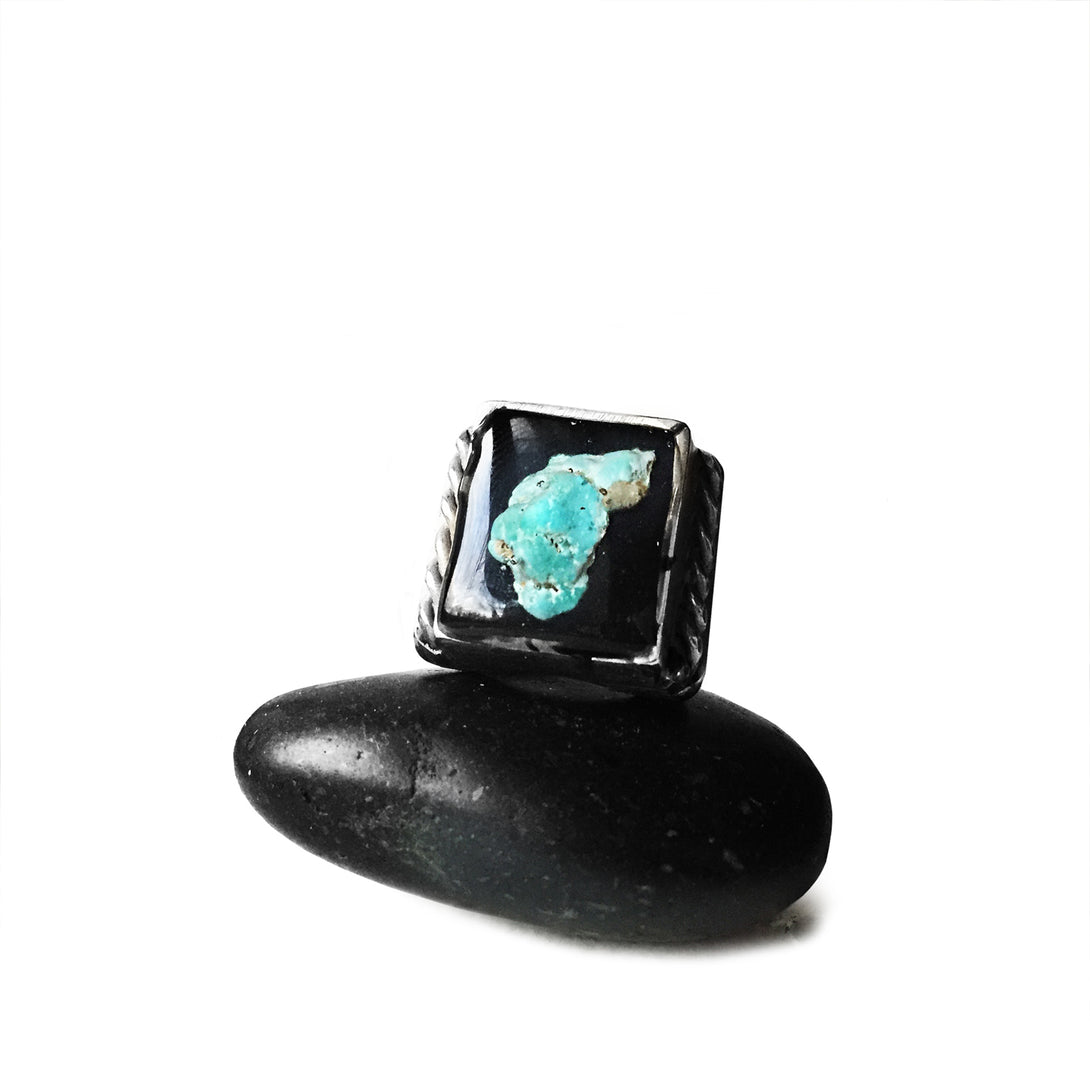 Arizona Turquoise Ring | Turquoise Liquid Mexican Biker Ring | Southwestern Turquoise Ring | Rock and Roll Jewellery | Handcrafted in the USA | Brooklyn Smithy Rings | BKS Rings | #Ringtrue | @Brooklynsmithy