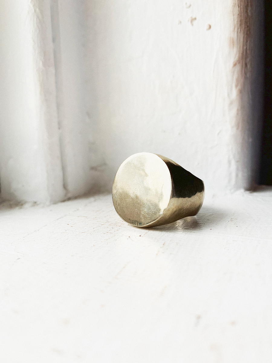 SHOP BKS RINGS | Classic Heavy Weight Circle Plain Signet | Mid-Century Modern Ring | Circle Plain Signet Ring | Monochrome Style | Minimalist Style | Handcrafted in the USA | Brooklyn Smithy Rings | BKS Rings | #Ringtrue