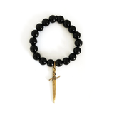SHOP BKS RINGS | Classic Dagger Black Onyx Crystal Charm Bracelet | Black Rosary Necklace | Solid Sterling Silver Black Onyx Chain | Americana Mens Jewelry | Monochrome style | Street Style | Minimalism | Shop Rock and Roll Jewelry | Made in USA | Brooklyn Smithy | BKS Rings | @BrooklynSmithy | #ringtrue