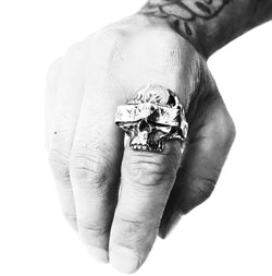 SHOP BKS RINGS | Blindfolded Classic Skull Ring | Southwestern Skull Ring | Rock and Roll Skull Ring | Handcrafted in the USA | Made in the USA by Brooklyn Smithy | BKS Rings | @BrooklynSmithy | Skull Ring Biker Ring | #Ringtrue