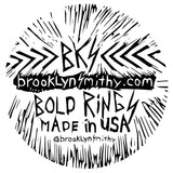 SHOP BKS RINGS | Rock and Roll Jewelry | Festival Jewelry | Glastonbury Festival Coachella jewelry | Bullet Spike earring | Brooklyn Smithy jewelry | @BrooklynSmithy | BKS Rings | Made in USA Jewelry