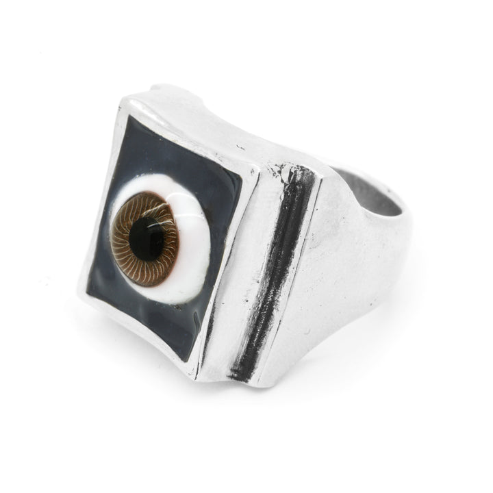 SHOP BKS RINGS | Brown Eye Ring | Brown Glass Eye Ring | All Seeing Eye Ring | Brown Eyed All Seeing Eye Ring | Handcrafted in the USA | Handcrafted in New Mexico | Southwest Jewelry | Biker Ring | Brooklyn Smithy | Brooklyn Smithy Rings | BKS Rings | #Ringtrue | @Brooklynsmithy