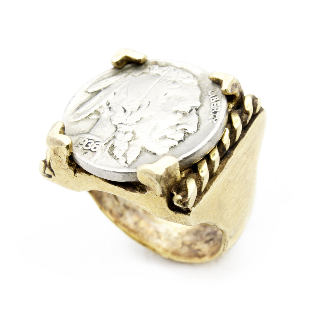 Buffalo Nickel Coin Ring made by Brooklyn Smithy | BKS Bold Rings | Southwestern Freedom Heritage Sentinel Heirlooms and Americana | Made in USA Jewelry