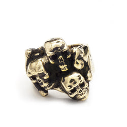 BKS Catacomb Skull Ring, Brooklynsmithy.com, Engagement Ring, Alternative Engagement Ring, Rock and Roll, Skeleton Ring, Stacked Skulls, Catacombs Paris, Made in USA Jewelry, Heavy Mens Skull Biker Ring