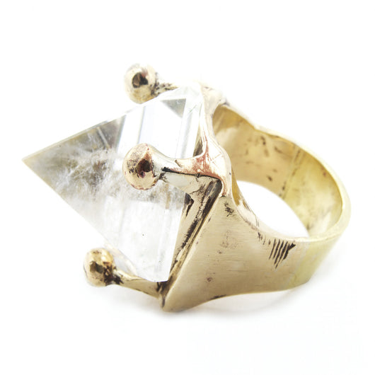 BKS Jewelry, Brooklyn Smithy Clear Quartz Crystal Pyramid Ring