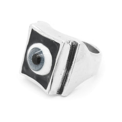 SHOP BKS RINGS | Grey Eye Ring | Grey Glass Eye Ring | All Seeing Eye Ring | Grey Eyed All Seeing Eye Ring | Handcrafted in the USA | Handcrafted in New Mexico | Southwest Jewelry | Biker Ring | Brooklyn Smithy | Brooklyn Smithy Rings | BKS Rings | #Ringtrue | @Brooklynsmithy