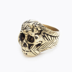 BKS Gypsy Skull Ring, Brooklynsmithy.com, Feathers and Skull, Solid men's Biker Ring, Solid Women's Biker ring, Warrior Ring, Death Mask Ring