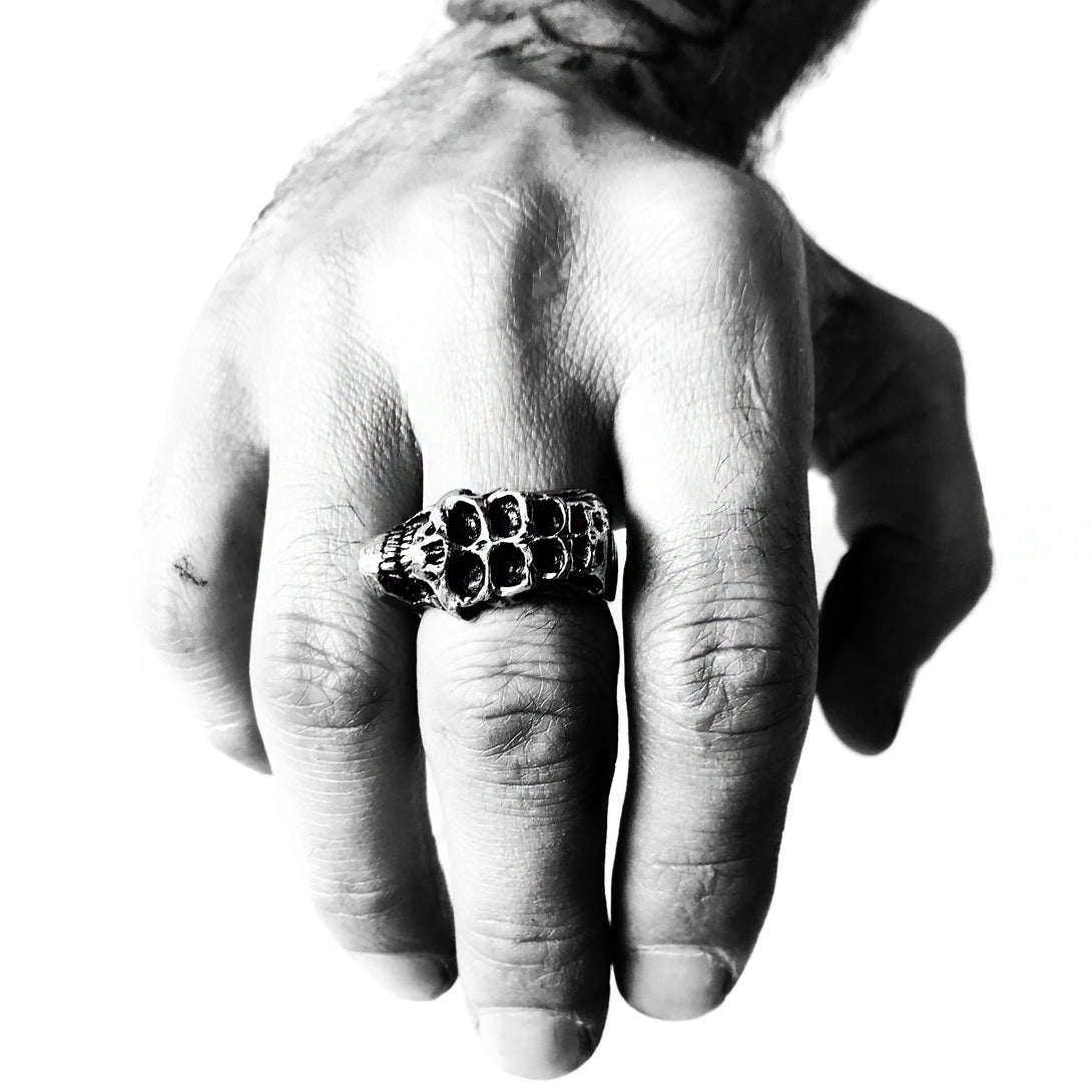 Hypnotic Eyes Sideways Skull Ring | Multiple Eyes Skull | Brooklyn Smithy | @BrooklynSmithy | BKS Rings | Made in USA Jewelry | #Ringtrue