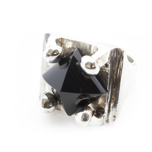 BKS Jewelry, Brooklyn Smithy, Biker Ring, Jet Black Spinel Crystal Pyramid Crystal Ring, Claw-like grip