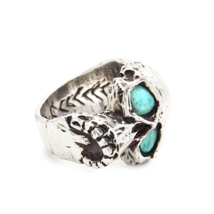 Nevada Turquoise Eyes Sideways Skull Ring | Supernatural Turquoise Minimalist Skull Ring | Southwestern Skull Ring | Rock and Roll Skull Ring | Handcrafted in the USA | Made in the USA by Brooklyn Smithy | BKS Rings | @BrooklynSmithy | Skull Ring Biker Ring | #Ringtrue