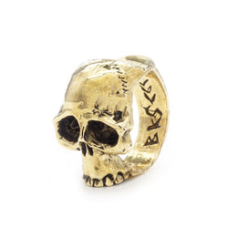 BKS Sideways Skull Ring, BROOKLYNSMITHY.COM, Mens unique skull, detailed skull and teeth, Made in USA Jewelry, Men's biker skull ring, USA made skull ring companies.