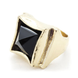 BKS-Jewelry, Brooklyn-Smithy, Comme-Des-Garcons, Black-Onyx-Crystal-Pyramid-Ring, Rock-and-roll-jewelry, #ringtrue, #covetyourfreedom, #bksrings