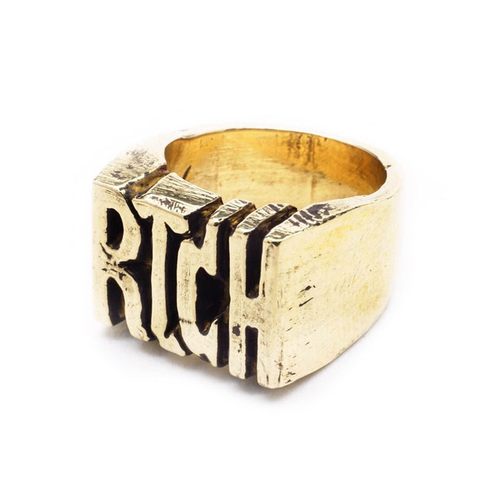 BKS Rich Ring, BROOKLYNSMITHY.COM, Mens Custom Name Plate Ring, Rich Ring, Mens custom biker ring, Made in USA jewelry.
