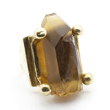Raw Citrine Crystal Point Ring by Brooklyn Smithy | BKS Bold Rings | Raw crystal ring in 4 prong setting | Victorian Crystal Ring | BKS Rings | @BrooklynSmithy | Made in USA Jewelry