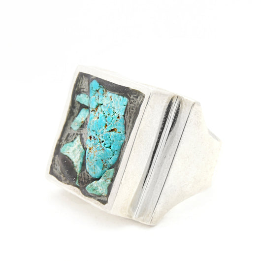 RAW TURQUOISE HEAVY SIGNET BIKER RING