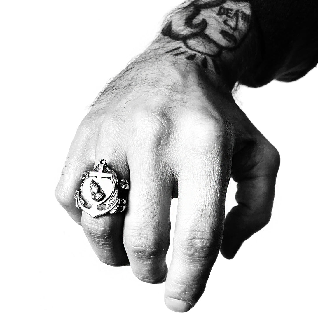 Sacred Heart Signet Ring | Rock and Roll Jewellery | Handcrafted in the USA | Brooklyn Smithy Rings | BKS Rings | #Ringtrue | @Brooklynsmithy
