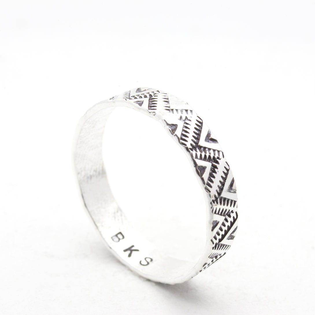 Sterling Silver 14K Yellow Gold Slim Band Promise Ring with Southwestern Stamp pattern on band by Brooklyn Smithy | BKS Bold Rings | @BrooklynSmithy | Made in USA Jewelry
