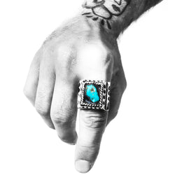 TURQUOISE DOUBLE CUT MEXICAN BIKER SIGNET RING