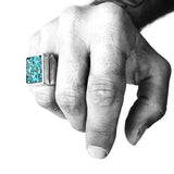 Turquoise Mosaic Signet Ring | Southwestern Turquoise Ring | Handcrafted in the USA by Brooklyn Smithy | BKS Rings | @BrooklynSmithy | Minimalist Heavy Biker Turquoise Ring | Turquoise Living | #Ringtrue