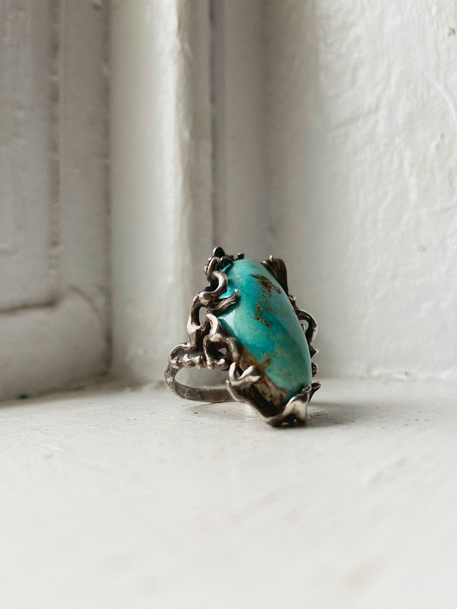 Vintage Morenci Turquoise Ring, Morenci Turquoise, Baller Turquoise Ring, Modern Luxury Turquoise Ring, Mens Turquoise Ring, Perfect Turquoise Pinky Ring, Santa Fe Turquoise Ring, New Mexico Turquoise Ring, Made in USA Jewelry, Mens Rings, Mens Signet Ring, Mens Turquoise ring, BKS-Rings, Covet-your-freedom
