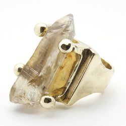 VICTORIAN RAW CLEAR QUARTZ CRYSTAL POINT RING