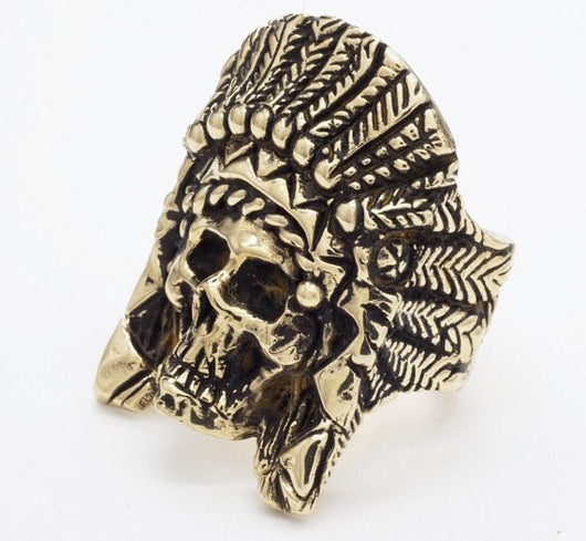 BKS Skull and Headdress Ring, BROOKLYNSMITHY.COM, detailed skull, feathers and skull, quality mens wear, realistic skull ring, USA made biker rings