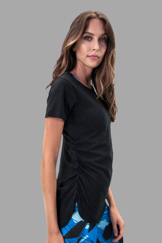 Jamie Rusched Tee in Black
