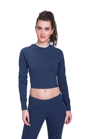 Satva Union Cropped Tee Blue Heather
