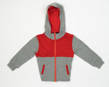 Kid's Colorblock Hoodie in Grey Strawberry