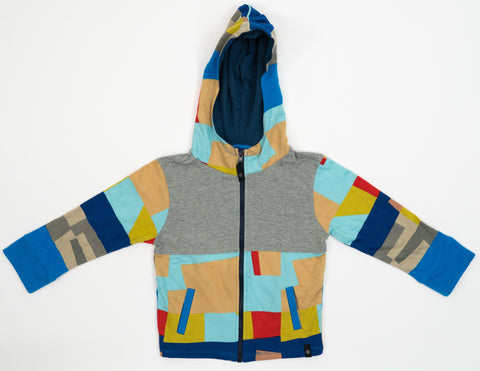 Kid's Colorblock Hoodie in Grey Blocked Print