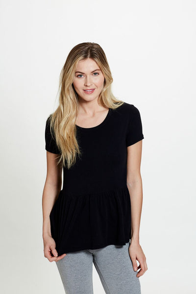 Delilah Peplum Tee in Black