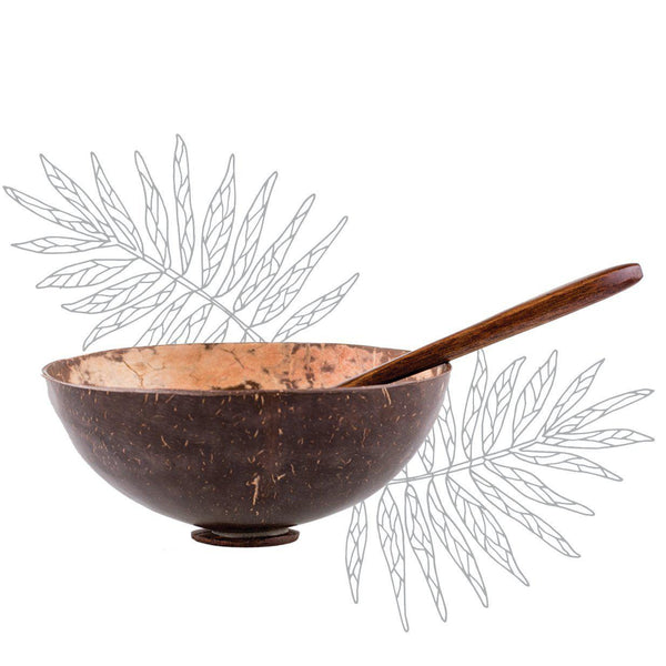 Coconut Mask Bowl + Wooden Spatula - Herbs & Heart - Natural Australian Skincare