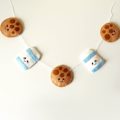 Cookie and Soya Milk Felt Garland