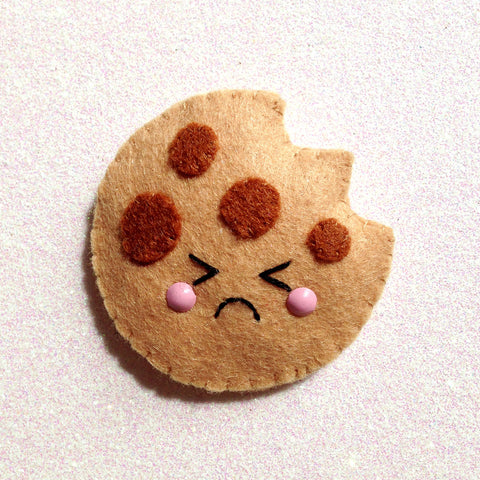 Cute Cookie Felt Accessory - Sad
