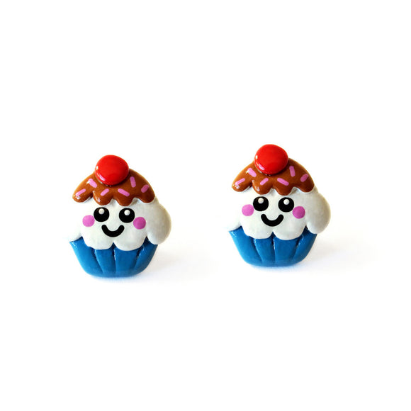 Cute Cupcake Stud Earrings - Blueberry