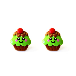 Cute Cupcake Stud Earrings - Mint Choc Chip