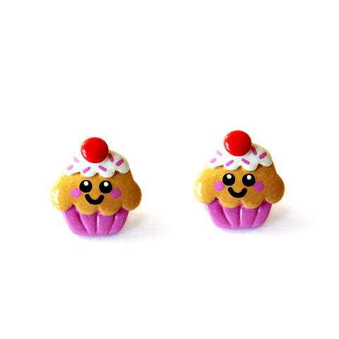 Cute Cupcake Stud Earrings - Strawberry