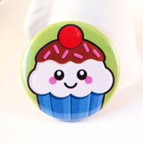 Cute Cupcake Pin Badge - Blueberry