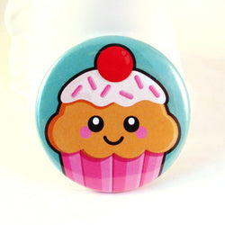 Cute Cupcake Pin Badge - Strawberry