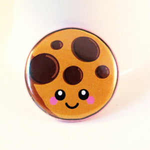 Cute Cookie Pin Badge - Happy