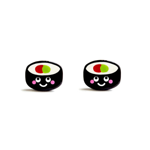 Fun Futomaki Sushi Roll Stud Earrings